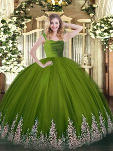 Wonderful Olive Green Ball Gowns Tulle Straps Sleeveless Beading and Appliques Floor Length Zipper Quinceanera Dress