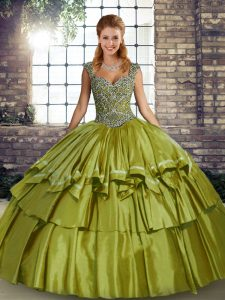 Taffeta Sleeveless Floor Length Quinceanera Gown and Beading and Ruffled Layers