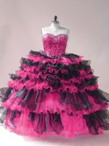 Fantastic Pink And Black Vestidos de Quinceanera Sweet 16 and Quinceanera with Beading and Ruffled Layers Sweetheart Sleeveless Lace Up