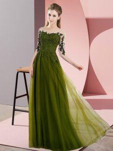 Empire Dama Dress Olive Green Bateau Chiffon Half Sleeves Floor Length Lace Up