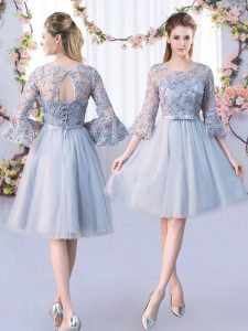 Grey Lace Up Vestidos de Damas Lace and Belt 3 4 Length Sleeve Knee Length