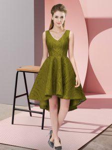 Lace Dama Dress Olive Green Zipper Sleeveless High Low