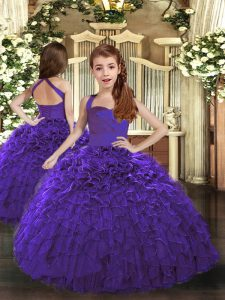 Sleeveless Lace Up Floor Length Ruffles Kids Pageant Dress