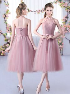 Pink Tulle Lace Up Halter Top Sleeveless Tea Length Quinceanera Court Dresses Appliques and Belt