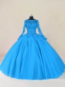 Long Sleeves Zipper Floor Length Lace and Appliques Quinceanera Gown