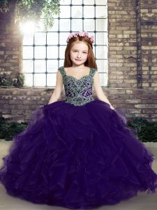 Glorious Floor Length Lace Up Little Girls Pageant Dress Purple for Party and Military Ball and Wedding Party with Beading and Ruffles