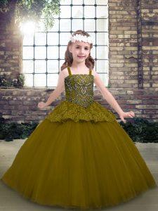 Edgy Sleeveless Beading Lace Up Kids Formal Wear