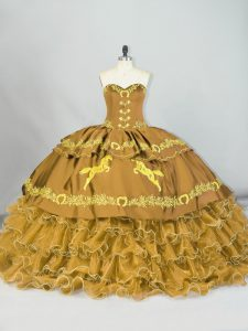 Admirable Sweetheart Sleeveless Satin and Organza 15th Birthday Dress Embroidery and Ruffled Layers Brush Train Lace Up