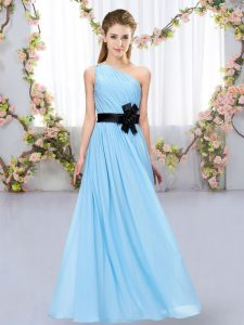 Chiffon One Shoulder Sleeveless Zipper Belt Vestidos de Damas in Aqua Blue