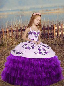 Most Popular Eggplant Purple Organza Lace Up Straps Sleeveless Floor Length Little Girls Pageant Dress Wholesale Embroidery and Ruffled Layers