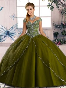 Admirable Sweetheart Cap Sleeves Brush Train Lace Up Sweet 16 Dress Olive Green Organza