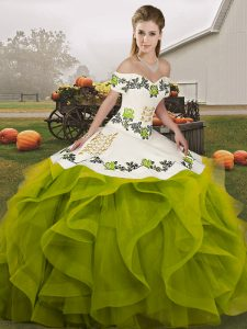 Sleeveless Embroidery and Ruffles Lace Up Quince Ball Gowns
