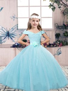Flare Floor Length Aqua Blue Winning Pageant Gowns Tulle Sleeveless Lace and Belt