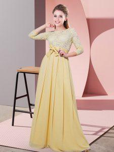 Chiffon 3 4 Length Sleeve Floor Length Damas Dress and Lace and Belt