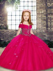 Fuchsia Sleeveless Beading Floor Length Kids Formal Wear