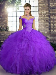 Glamorous Floor Length Lace Up 15 Quinceanera Dress Purple for Military Ball and Sweet 16 and Quinceanera with Beading and Ruffles