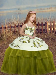 Fantastic Floor Length Ball Gowns Sleeveless Olive Green Little Girls Pageant Gowns Lace Up