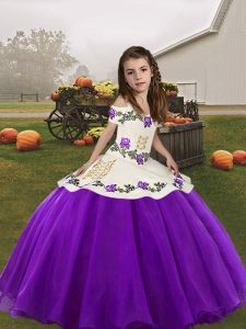 Beauteous Eggplant Purple Sleeveless Organza Lace Up Child Pageant Dress for Party and Sweet 16 and Wedding Party