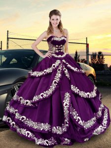 Decent Purple Lace Up Sweetheart Embroidery and Ruffled Layers Ball Gown Prom Dress Satin Sleeveless