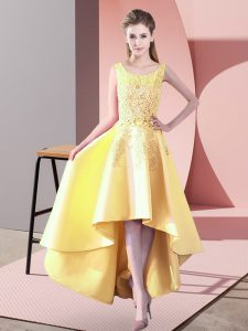 Classical Yellow A-line Scoop Sleeveless Satin High Low Zipper Lace Quinceanera Court of Honor Dress