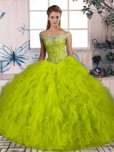 Captivating Olive Green Tulle Lace Up Off The Shoulder Sleeveless 15 Quinceanera Dress Brush Train Beading and Ruffles