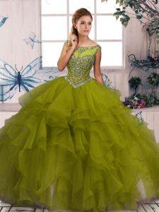 Fine Floor Length Olive Green 15th Birthday Dress Scoop Sleeveless Zipper