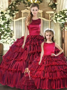 Custom Fit Wine Red Quince Ball Gowns Military Ball and Sweet 16 and Quinceanera with Ruffled Layers Scoop Sleeveless Lace Up