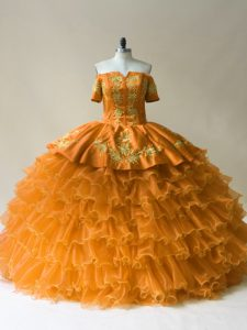 Stylish Gold Organza Lace Up Off The Shoulder Sleeveless Floor Length Sweet 16 Dresses Embroidery and Ruffled Layers