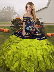Beautiful Off The Shoulder Sleeveless Organza Sweet 16 Quinceanera Dress Embroidery and Ruffles Lace Up