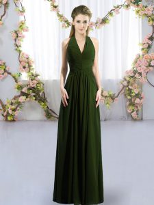 Olive Green Vestidos de Damas Wedding Party with Ruching Halter Top Sleeveless Lace Up