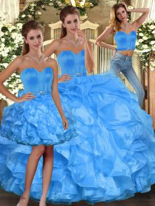 Comfortable Sleeveless Lace Up Floor Length Ruffles Ball Gown Prom Dress