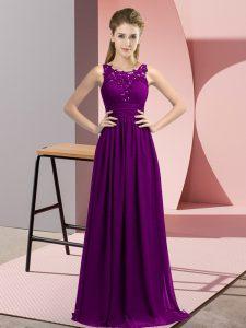 Chic Purple Scoop Zipper Beading and Appliques Vestidos de Damas Sleeveless