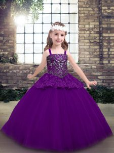 Floor Length Lace Up Pageant Dress for Girls Purple for Party and Military Ball and Wedding Party with Beading