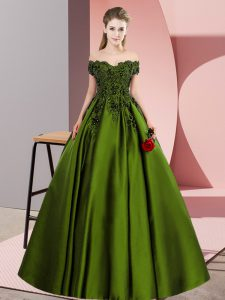Nice Floor Length Zipper Quinceanera Gown Olive Green for Party and Sweet 16 and Wedding Party with Lace