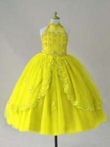 Charming Yellow Ball Gowns High-neck Sleeveless Tulle Floor Length Lace Up Beading and Appliques Little Girls Pageant Dress