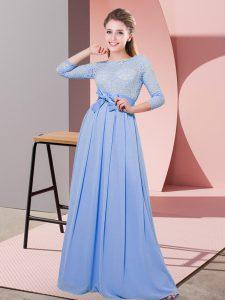 Scoop 3 4 Length Sleeve Vestidos de Damas Floor Length Lace and Belt Lavender Chiffon