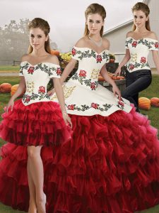Best Organza Sleeveless Floor Length Ball Gown Prom Dress and Embroidery and Ruffled Layers