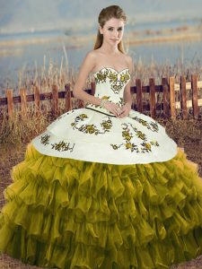 Ball Gowns Quinceanera Dress Olive Green Sweetheart Organza Sleeveless Floor Length Lace Up