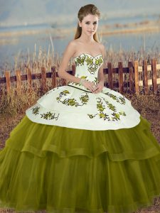 Traditional Embroidery and Bowknot 15th Birthday Dress Olive Green Lace Up Sleeveless Floor Length