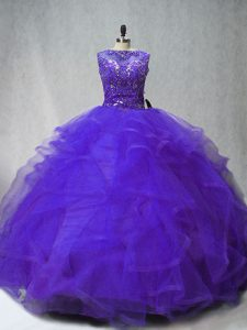 Noble Ball Gowns Sleeveless Purple Sweet 16 Quinceanera Dress Brush Train Lace Up