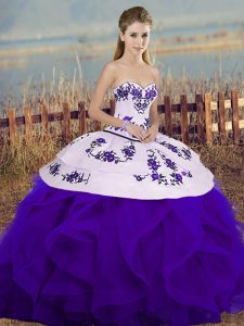 Best White And Purple Ball Gowns Embroidery and Ruffles and Bowknot Quinceanera Gowns Lace Up Tulle Sleeveless Floor Length