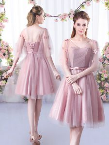 Colorful Pink A-line V-neck Sleeveless Tulle Knee Length Lace Up Appliques and Belt Quinceanera Court of Honor Dress