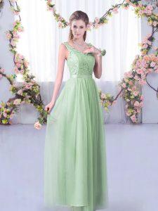 Shining Floor Length Apple Green Vestidos de Damas Tulle Sleeveless Lace and Belt
