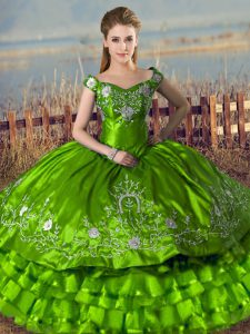 Attractive Green Sleeveless Embroidery and Ruffled Layers Floor Length 15 Quinceanera Dress