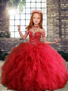 Tulle Scoop Sleeveless Lace Up Ruffles Little Girl Pageant Dress in Red