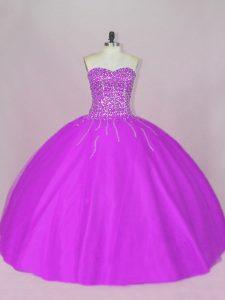 Fantastic Sleeveless Floor Length Beading Lace Up Sweet 16 Dresses with Purple