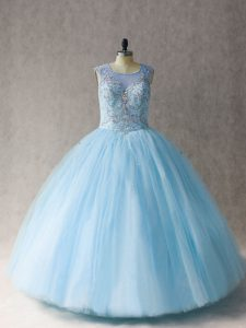 Ball Gowns 15th Birthday Dress Light Blue Scoop Tulle Sleeveless Floor Length Lace Up