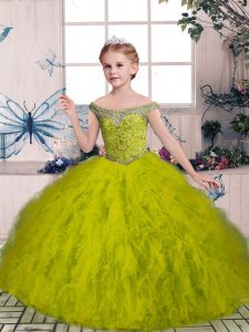 Sleeveless Floor Length Beading and Ruffles Lace Up Pageant Gowns For Girls with Olive Green