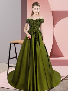 Olive Green A-line Off The Shoulder Sleeveless Satin Floor Length Zipper Lace Quince Ball Gowns