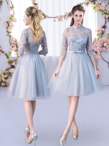 Grey Half Sleeves Knee Length Lace and Belt Lace Up Dama Dress for Quinceanera